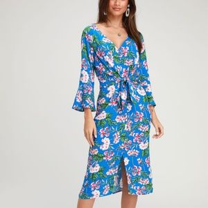LuLu's April Floral Print Tying Button Dress NWT